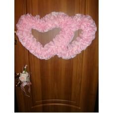 Два сердца для украшения квартиры, зала, стен, штор шелк цвет: розовый №2804.110