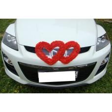 Два сердца для украшения машины шелк цвет: красный №2806.110