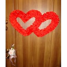 Два сердца для украшения квартиры, зала, стен, штор шелк  цвет: красный №2806.110