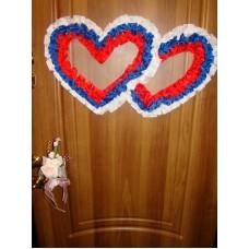 Два сердца для украшения квартиры, зала, стен, штор шелк цвет: триколор №2807.110