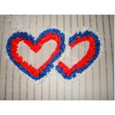 Два сердца для украшения машины шелк цвет: триколор №2807.110
