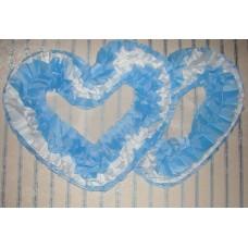 Два сердца для украшения машины шелк цвет: голубой с белым №2808.110