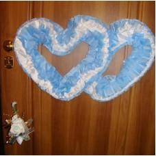 Два сердца для украшения квартиры, зала, стен, штор шелк  цвет: голубой с белым №2808.110