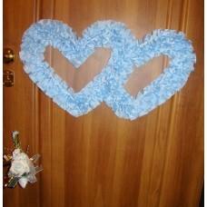 Два сердца для украшения квартиры, зала, стен, штор шелк  голубой №2809.110