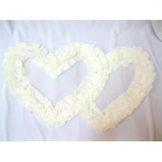 Два сердца для украшения машины шелк цвет: белый №2810.110