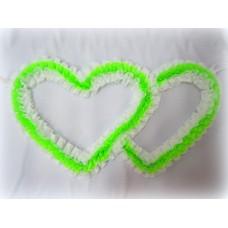 Два сердца для украшения квартиры, зала, стен, штор шелк  цвет: белый с салатовым №2811.74