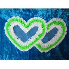 Два сердца для украшения машины шелк цвет: белый с зеленым №2813.74