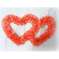 Два сердца для украшения машины атлас цвет: персиковый №2814.101