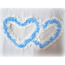 Два сердца для украшения машины атлас цвет: белый с голубым №2816.101
