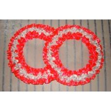 Два кольца для украшения машины атлас цвет: ярко-розовый с белым №2817.101