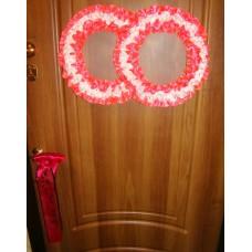 Два кольца для украшения квартиры, зала, стен, штор атлас цвет: ярко-розовый с белым №2817.101