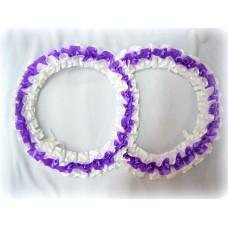 Два кольца для украшения машины атлас цвет:фиолетовый с белым №2819.101