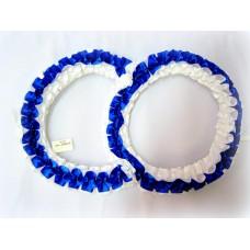 Два кольца для украшения машины атлас цвет: синий с белым №2823.101