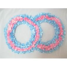 Два кольца для украшения машины атлас цвет: голубой с розовым №2827.101