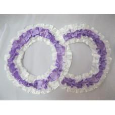 Два кольца для украшения машины атлас цвет: белый с сиреневым №2828.101