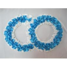 Два кольца для украшения машины атлас цвет: белый с голубым №2829.101