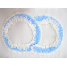 Два кольца для украшения машины шелк; цвет: белый с голубым №2831.92