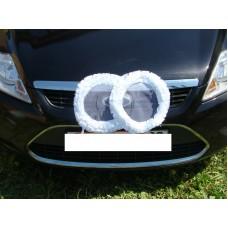 Два кольца для украшения машины шелк; цвет: белый №2832.92
