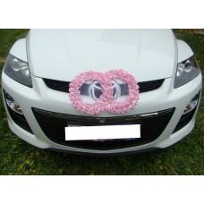 Два кольца для украшения машины шелк; цвет:розовый №2836.110