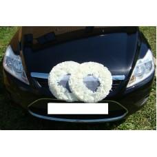 Два кольца для украшения машины шелк; цвет: белый №2837.110