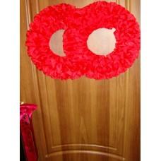 Два кольца для украшения квартиры, зала, стен, штор; атлас; цвет: красный №2838.150