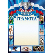 Грамота спортивная, 2 место  А4 Размер: 21,0 x 29,5 см  №2906.7