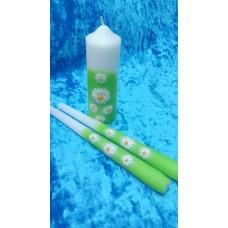 Комплект Ромашки: Свеча 5 х 14,0 см и Свечи тонкие 2,3 х25 см - 2 штуки  №2958.248
