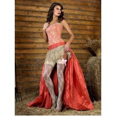 Свадебные чулки SP CORNUTA  40den цвета: avorio (слоновая кость) (бант в комплекте 2 штуки розовый, айвори)  №2758.433