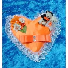 Подушечка для колец Сердце-Мишки оранжевая 22см SvetikFantasy отделка может отличаться №2762.447