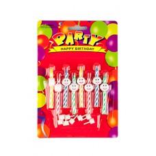 Набор свечей для торта + подсвечники, 6 см, 8 шт №2443.25