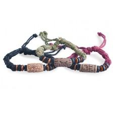 Браслет из кожи, плетёный, с украшением из дерева и металла, 1 штука №2455.21