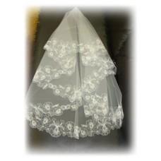 Фата с вышивкой белая №9.700