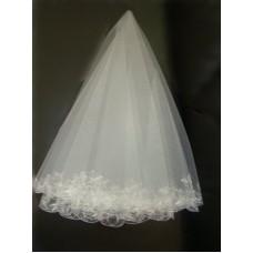 Фата с вышивкой белая №6.700