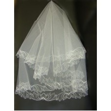 Фата с вышивкой белая №10 (Т)