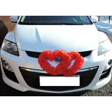 Два сердца для украшения машины красный №4859.115