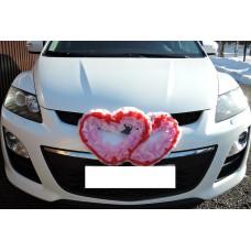 Два сердца для украшения машины цвет: розовый с красным №4863.115