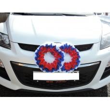Два кольца для украшения машины атлас; цвет: триколор №5489.150
