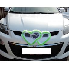 Два сердца для украшения машины шелк цвет: белый с салатовым №2811.74