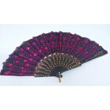 """Веер """"Перо Павлина"""", черный/темно-розовый 24см №5698.60"""