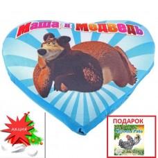 """Акция Мягкая подушка-антистресс """"Маша и Медведь"""" в форме сердца + Книжка Курочка Ряба в ПОДАРОК!"""