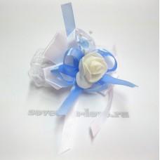 Цветочек-браслет голубой 8см №25074.112
