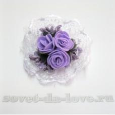 Браслет-цветок на резинке фиолетовый 25072.112