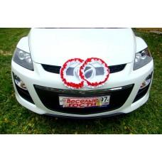 Два кольца для украшения машины атлас бело-красный №1618.101