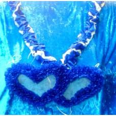 Комплект: Лента на капот галочка  спираль, два сердца на радиатор цвет: бело/синяя, синий  №1623.326