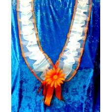 Комплект: Лента на капот галочка  , цветочек на радиатор цвет: бело/оранжевый, оранжевый  №1627.195