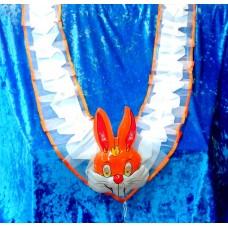 Комплект: Лента на капот галочка  , заяц на радиатор цвет: бело/оранжевый, оранжевый  №1628.154