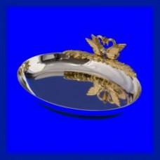 Блюдце для колец Серебрянное овальное с лебедями №74.420