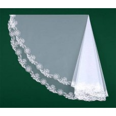Фата вышитая белая Размер : 1,5метра №1020.700