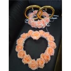 Комплект кольца на крышу машины и сердце персик №8