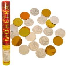 Пневмохлопушка Монетка на счастье золотое серебряное конфетти и в виде монет по 1 руб. 30см №120.172